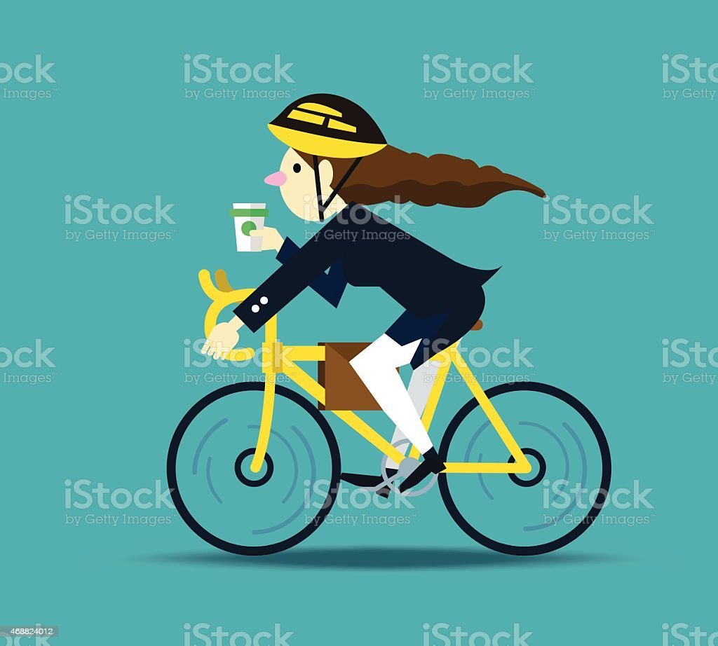 Business women cycling to work. vector art illustration