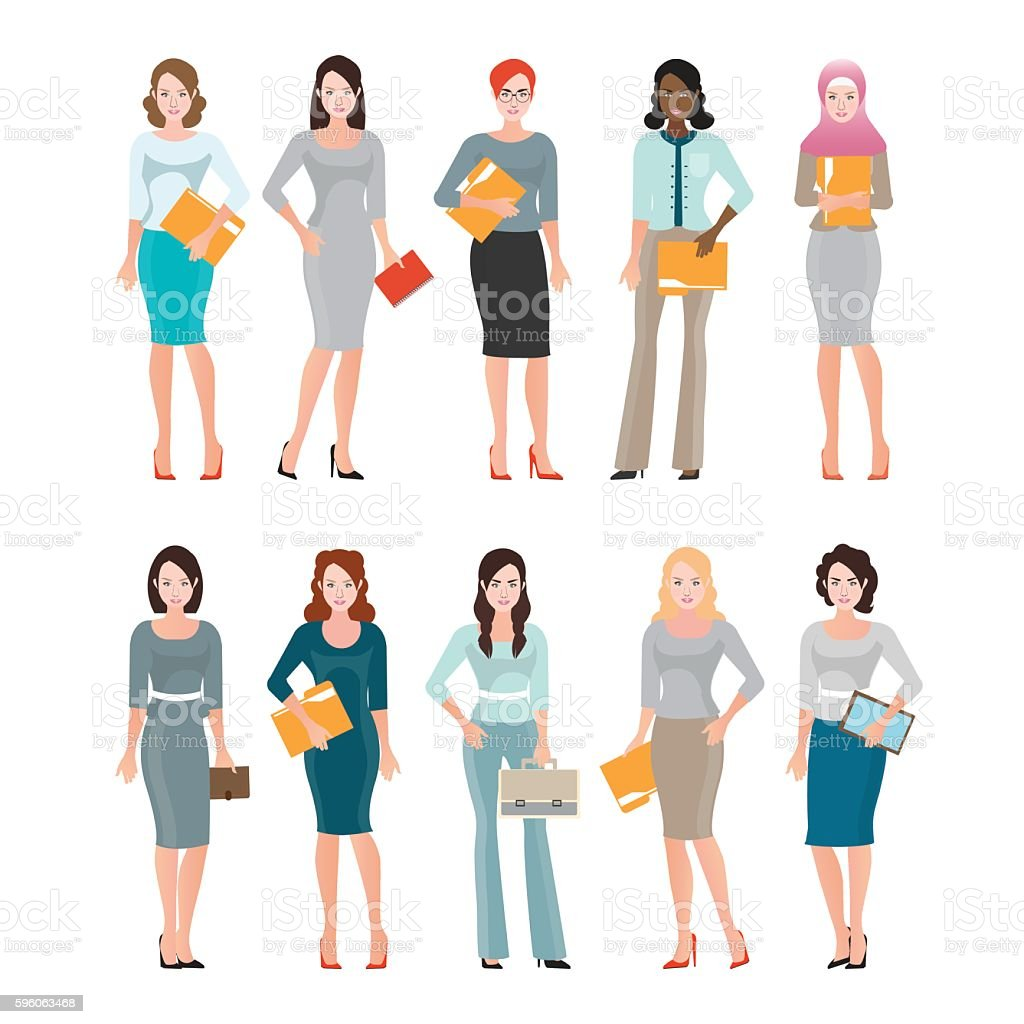Business Women in smart suit isolated on white. vector art illustration