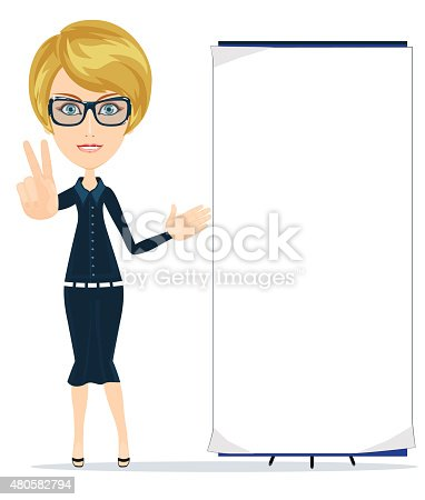 528291188 istock photo Business women is pointing to big blank paper 480582794