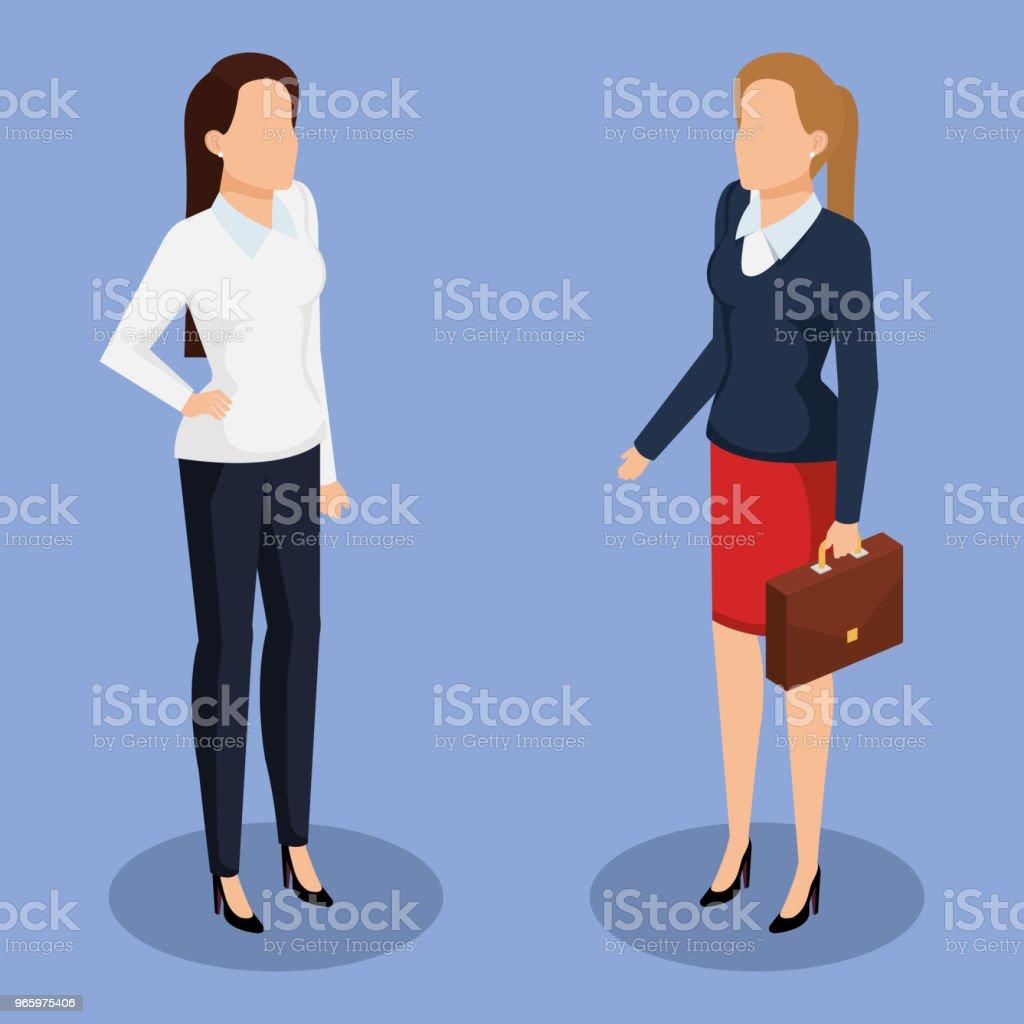 zakelijke vrouwen isometrische avatars - Royalty-free Attaché vectorkunst