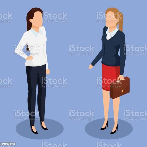 Business Women Isometric Avatars Stock Illustration - Download Image Now