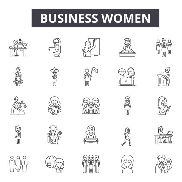Business women line icons for web and mobile design. Editable stroke signs. Business women  outline concept illustrations Business women line icons for web and mobile. Editable stroke signs. Business women  outline concept illustrations beautiful woman stock illustrations
