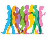Colourful overlapping silhouettes of business women. Fully re-positionable elements