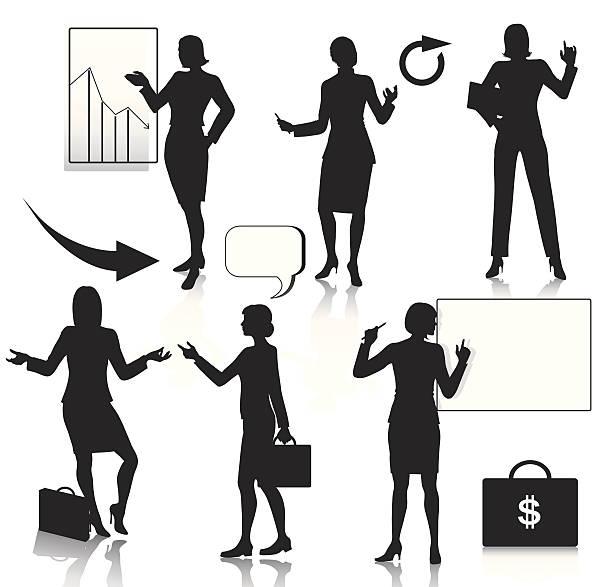 business-frauen silhouetten set - laptoptaschen stock-grafiken, -clipart, -cartoons und -symbole