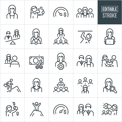 A set of business women icons that include editable strokes or outlines using the EPS vector file. The icons include business women, women in the workforce, wages, salary, gender inequality, discrimination, pay gap, business woman holding puzzle piece, skilled businesswomen, business team, leadership, sex discrimination, equality, female manager, business woman holding a key to success, business woman with megaphone and a businesswoman giving a presentation to name a few.