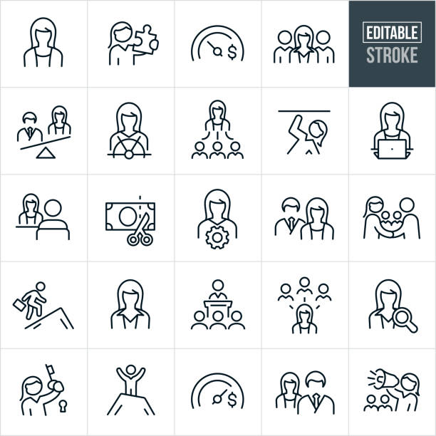 Business Women Thin Line Icons - Editable Stroke A set of business women icons that include editable strokes or outlines using the EPS vector file. The icons include business women, women in the workforce, wages, salary, gender inequality, discrimination, pay gap, business woman holding puzzle piece, skilled businesswomen, business team, leadership, sex discrimination, equality, female manager, business woman holding a key to success, business woman with megaphone and a businesswoman giving a presentation to name a few. equality stock illustrations