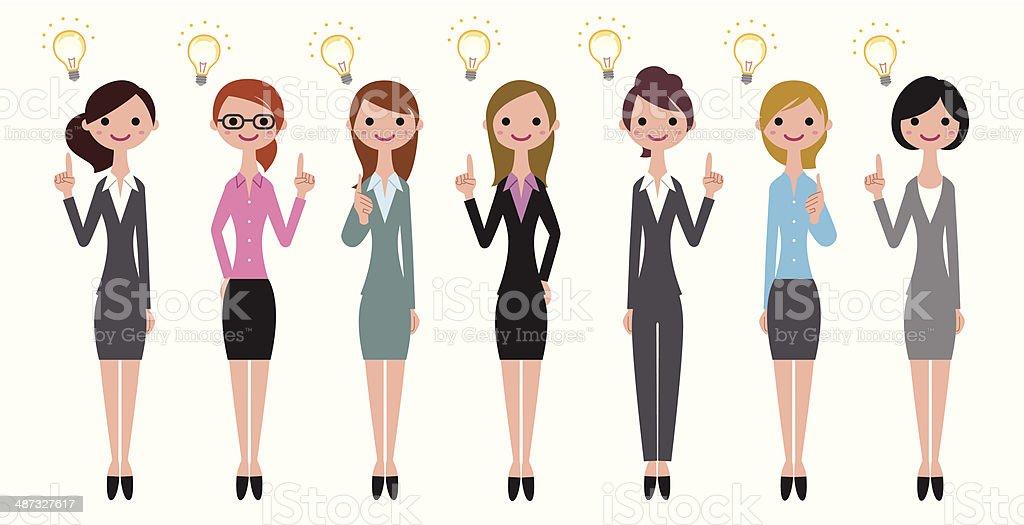 Business women thinking vector art illustration