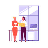 Vector illustration of two women talking in the office. Isolated on background.