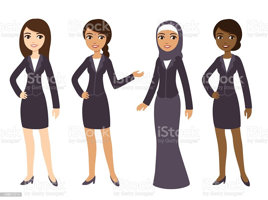 Business women vector art illustration