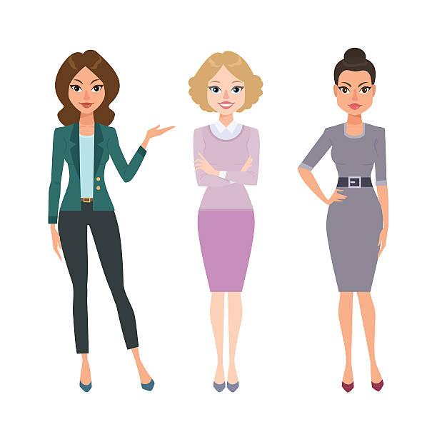 stockillustraties, clipart, cartoons en iconen met business women - curly brown hair