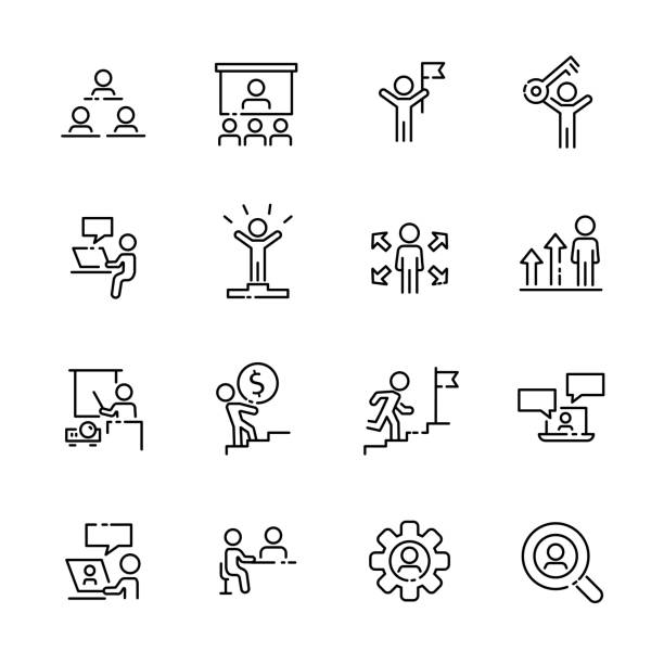 Business work icon set 2, vector eps10 Business work icon set 2, vector eps10. coach stock illustrations