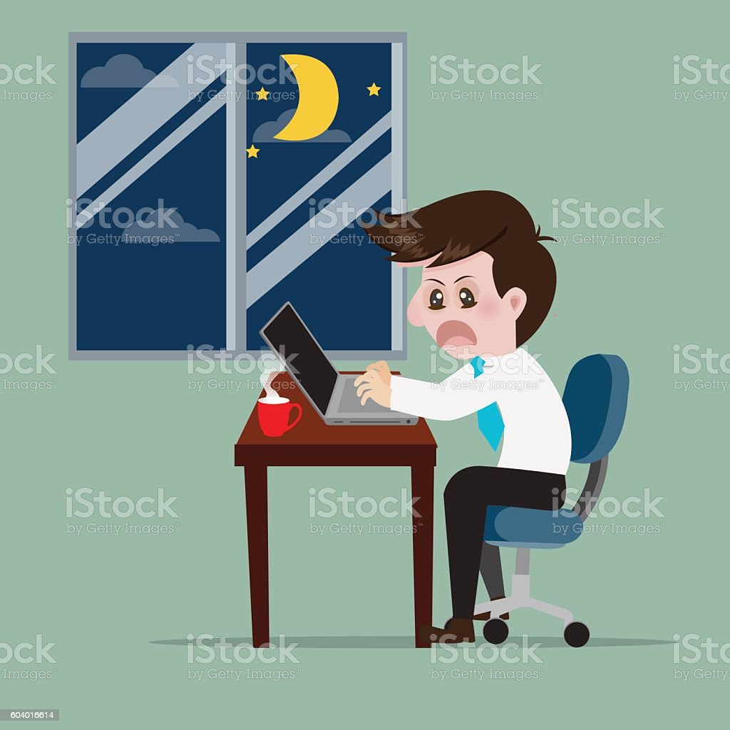 Business work overtime to early morning. vector art illustration