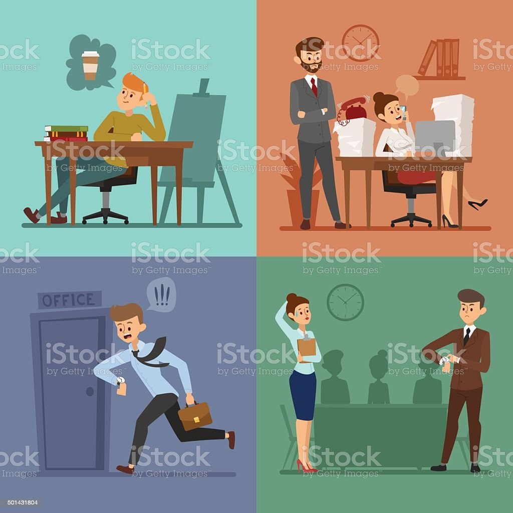 Business work time lag vector illusutration vector art illustration