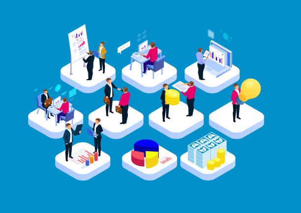ilustraciones, imágenes clip art, dibujos animados e iconos de stock de concepto de flujo de trabajo empresarial - proyección isométrica