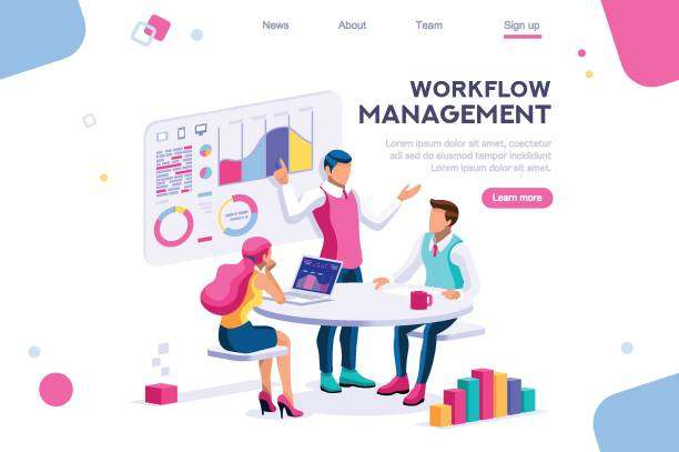 Business Workflow Graph Management workflow, business graphs. Brainstorming infographic. Interactive set of situations. Man concept. Interacting people. 3d images isometric vector illustrations. travel agents stock illustrations
