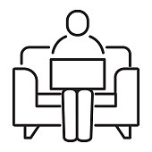istock Business working at home concept thin line style icon - editable stroke 1300031952
