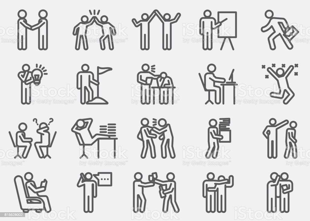 Business Working Human Action Line Icons - illustrazione arte vettoriale