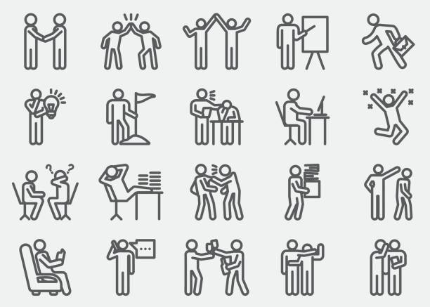Business Working Human Action Line Icons Business Working Human Action Line Icons boredom stock illustrations