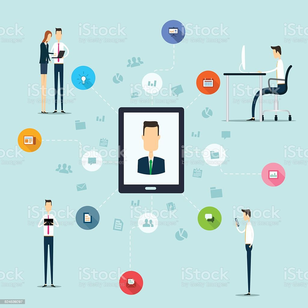 Business Working On Line Network Connection On Mobile Stock Vector ...