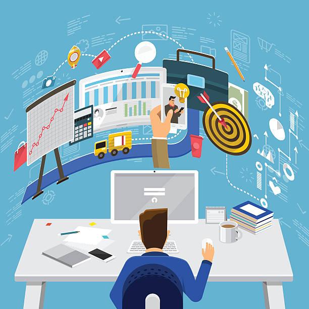 бизнес работы - пищевая цепь stock illustrations