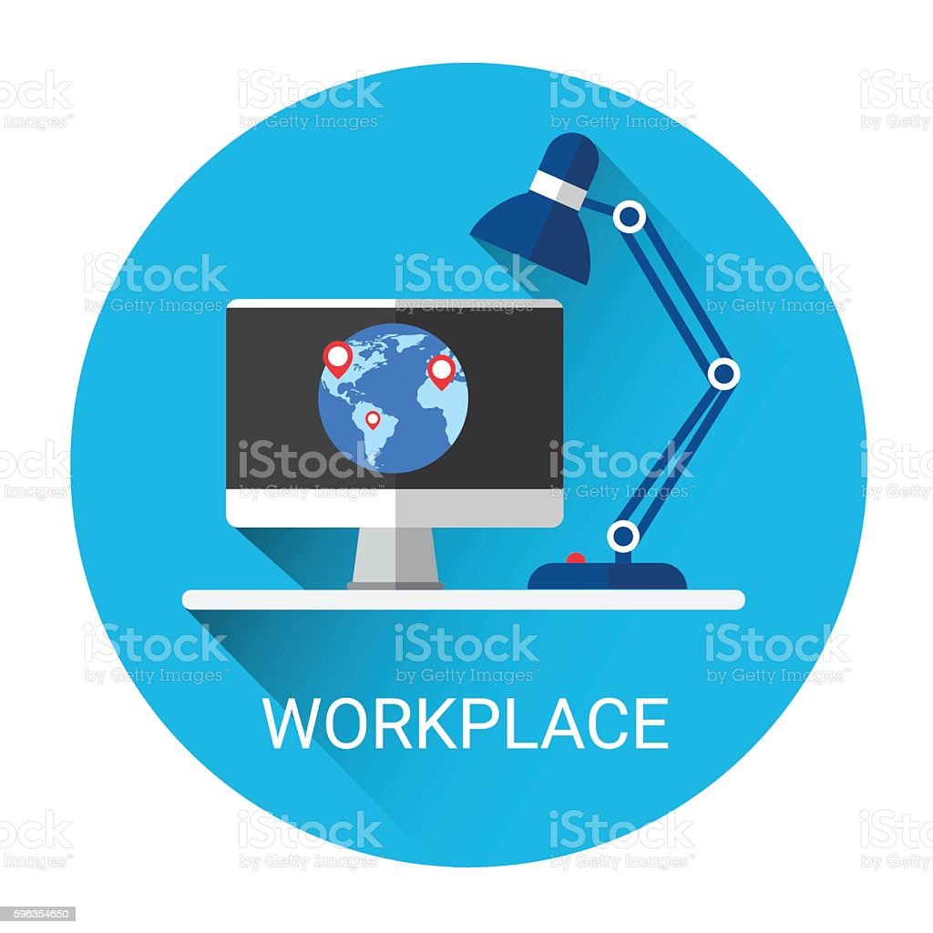 Business Workplace Desktop Icon royalty-free business workplace desktop icon stock vector art & more images of backgrounds