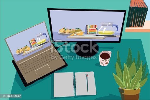 Business workplace top view stock illustration