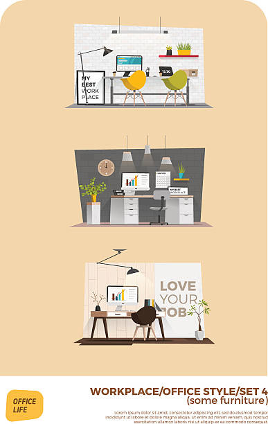 business-arbeitsplätzen - neues zuhause stock-grafiken, -clipart, -cartoons und -symbole