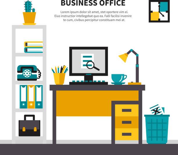 business-arbeitsbereich im büro - stiftehalter stock-grafiken, -clipart, -cartoons und -symbole