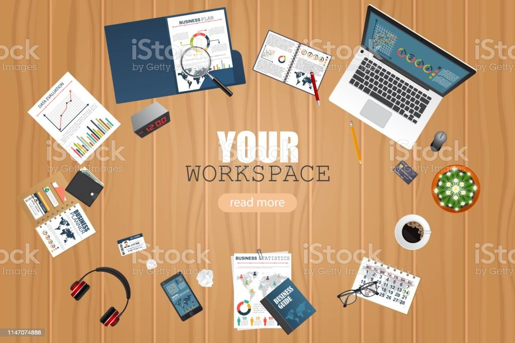 Business workspace top view. Office objects. Business planning and...