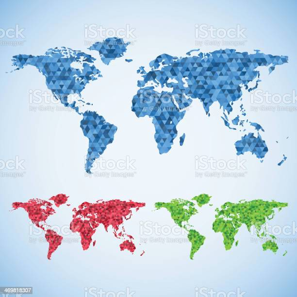 Business World Map Set Stock Illustration - Download Image Now