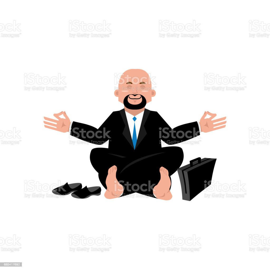 Business yoga. Businessman meditating isolated. Yogi Boss. office Zen and relaxation business yoga businessman meditating isolated yogi boss office zen and relaxation - arte vetorial de stock e mais imagens de adulto royalty-free