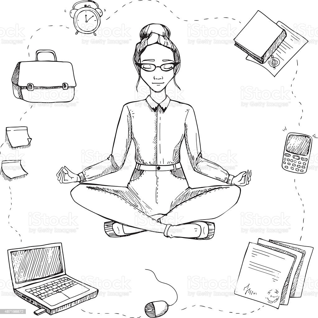 Girl is in the lotus position. royalty-free stock vector art  sc 1 st  iStock & Business Yoga Girl Is In The Lotus Position stock vector art ... islam-shia.org