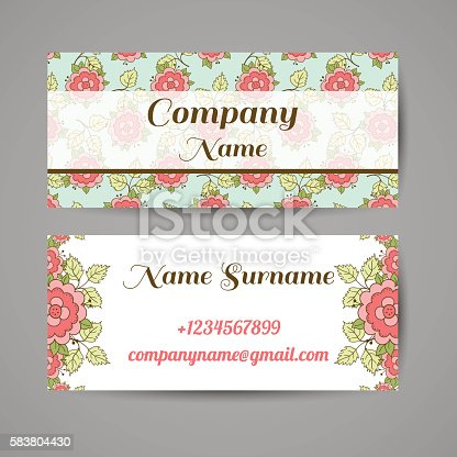 Business card with hand drawn pink roses on blue background. Vector illustration.