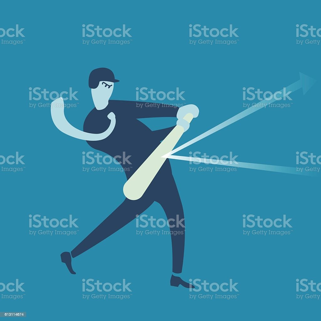 Business,Baseball, batting, playing, rising vector art illustration