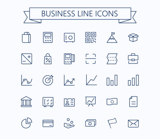 business, finanzen vektor dünne linie mini icons set. 24 x 24 raster. pixel perfect.editable schlaganfall. - rechenmaschine stock-grafiken, -clipart, -cartoons und -symbole