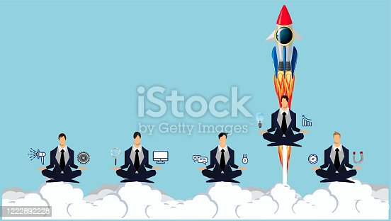 Businessman 5 person practicing mindfulness meditation with Drive Rocket -Think differently - Being different, taking risky, move for success in life.