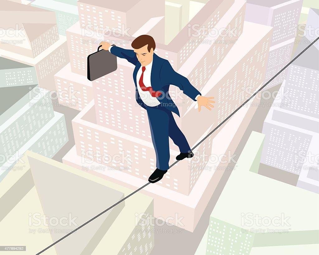 Businessman a rope向量藝術插圖
