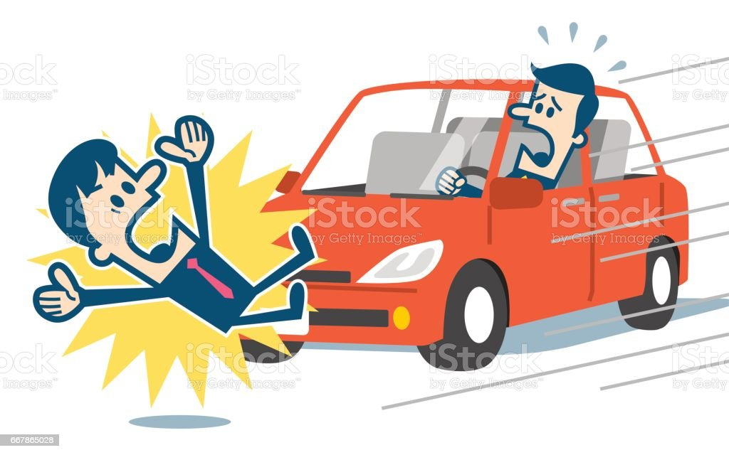 Businessman about to be hit by a car vector art illustration