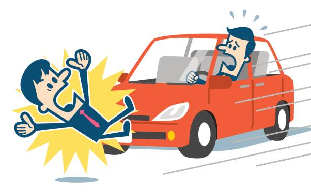 bildbanksillustrationer, clip art samt tecknat material och ikoner med affärsman på att bli påkörd av en bil - krockad bil