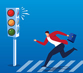Businessman adventure running red light