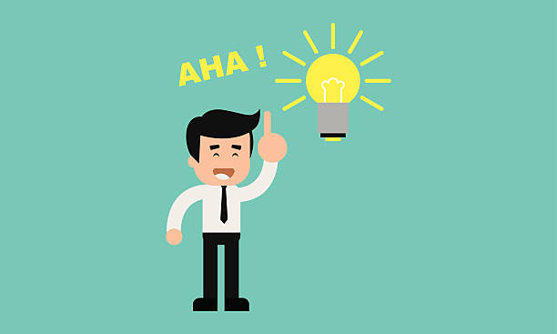 Businessman aha moment with bulb Businessman smiling with pointing finger and shining light bulb aha stock illustrations