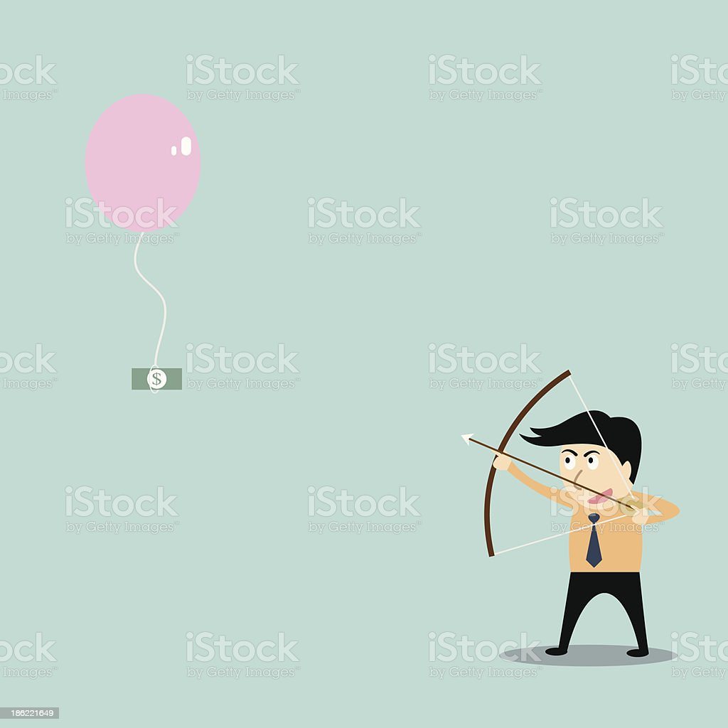 businessman aiming at money with bow and arrow royalty-free stock vector art