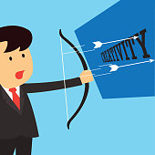 businessman aiming bow with arrow to target board as symbol of  business target. vector illustration