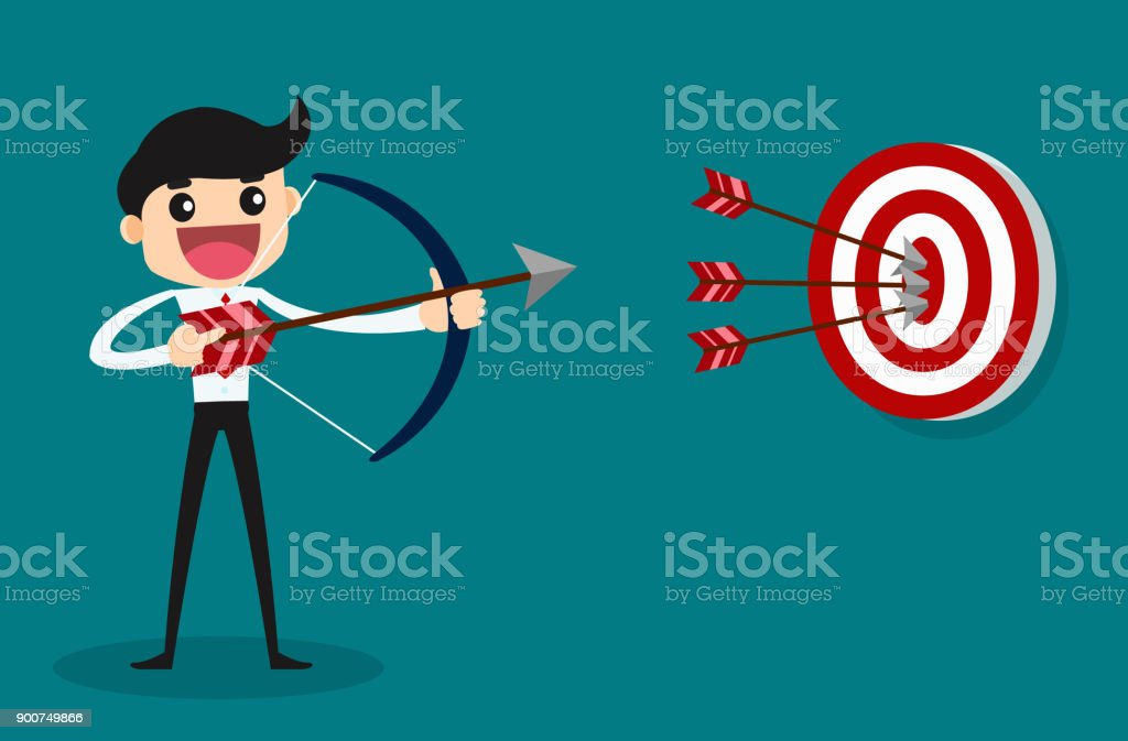 Businessman aiming target. Concept business. vector illustration design. vector art illustration