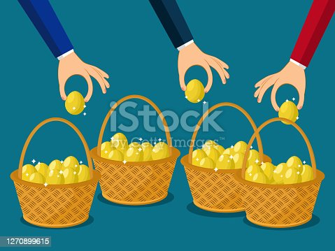A businessman allocates more than one egg in one basket. Business distribution concept vector
