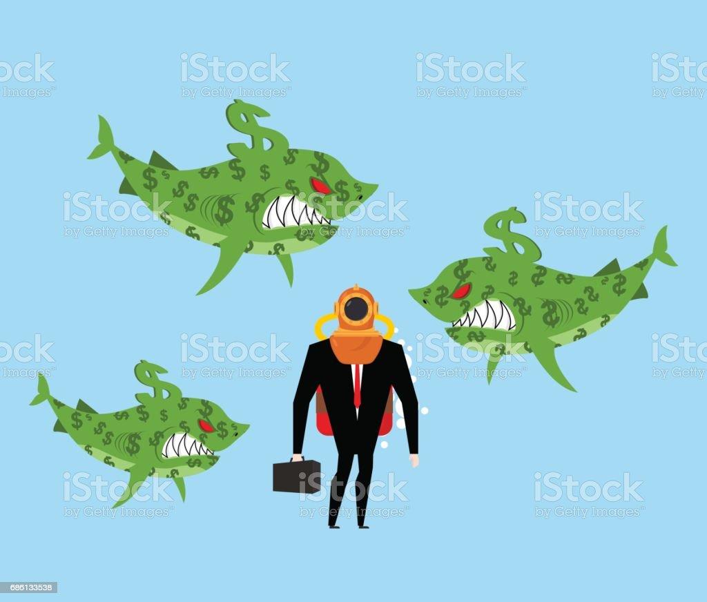 Vetores de Homem De Negócios Entre Empresas Tubarões Predadores De ...