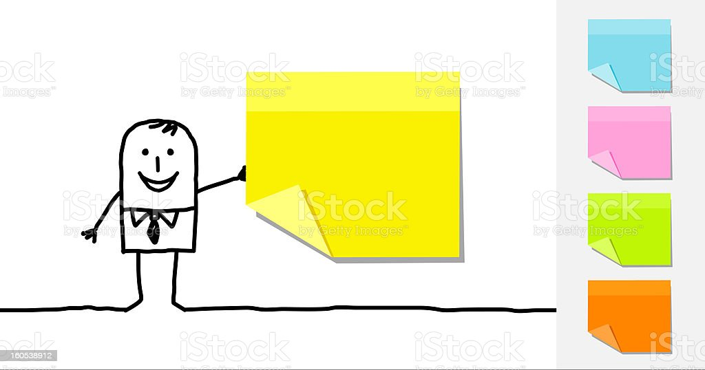 businessman & color sticky papers royalty-free stock vector art
