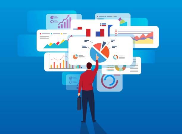 ビジネスマンは、ページ データを分析します。 - 投資家点のイラスト素材/クリップアート素材/マンガ素材/アイコン素材