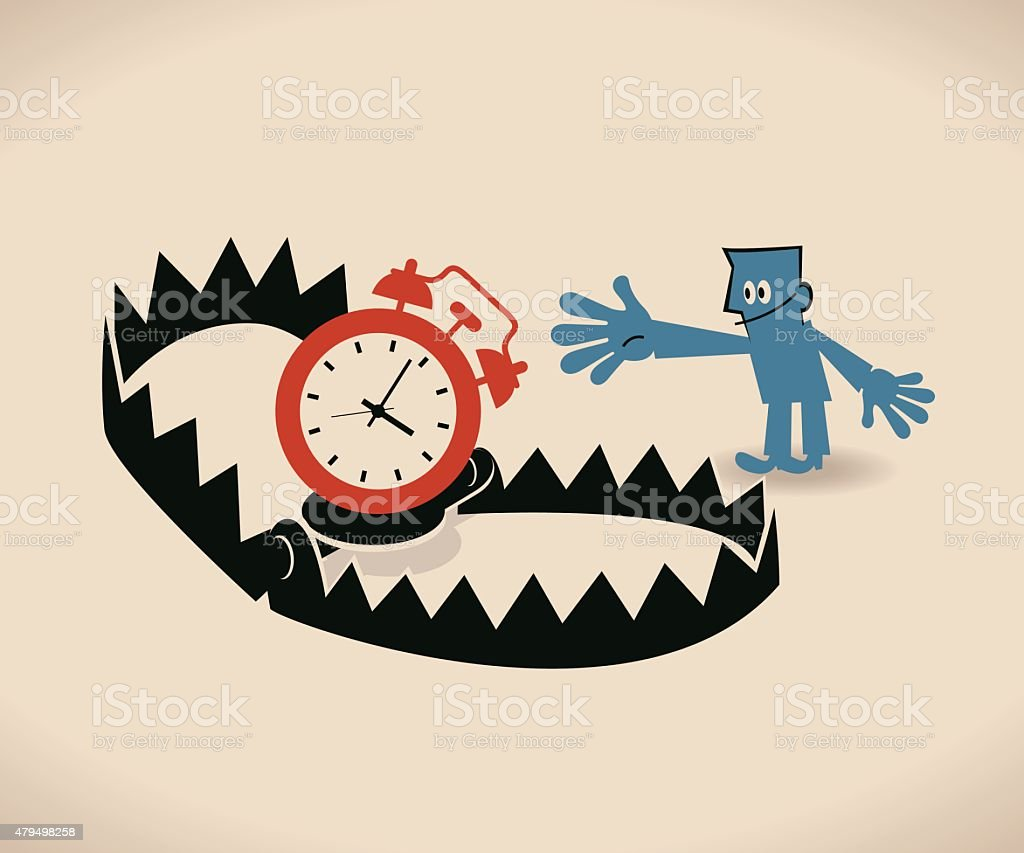 businessman and bear trap with time management (alarm clock) bait vector art illustration