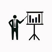 Businessman and blackboard vector  icon.